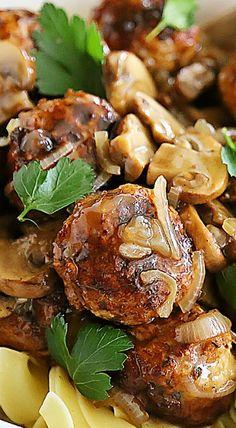 Chicken Marsala Meatballs These Crispy, Juicy Chicken Meatballs With Mushrooms I. Chicken Marsala Meatballs These Crispy, Juicy Chicken Meatballs With Mushrooms In A Tangy Marsala Sauce Are The Best Turkey Recipes, Meat Recipes, Dinner Recipes, Cooking Recipes, Healthy Recipes, Recipies, Dinner Entrees, Meatball Recipes, Chicken