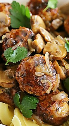 Chicken Marsala Meatballs ~ These crispy, juicy chicken meatballs with mushrooms in a tangy Marsala sauce are the BEST