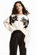 Sequined jumper - Natural white - Ladies | H&M IE 1