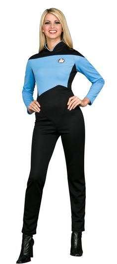 Star Trek The Next Generation Blue Med/Sci Ladies Jumpsuit Costume - This science and medical Starfleet uniform is worn in Star Trek: The Next Generation. Worn by Dr. Crusher, this is a one piece blue and black polyester jumpsuit with a zipper up the back and a high collar. This costume also includes a plastic Star Trek communicator badge, and 5 rank pips with a guide chart.  Great for Group costumes as a Star Trek Crew, Sci-fi and comic book conventions.