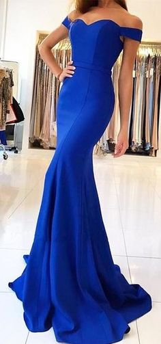 Shiny Royal Blue Prom Dresses Off-the-Shoulder Long Mermaid Evening Gowns