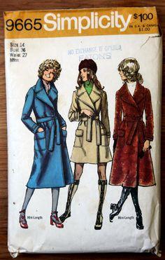 Vintage Simplicity 70's Winter Pea Coat by VintagePatternsPlus, $6.00