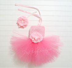 Isabella Newborn Baby Girl Tutu Dress Set in pink