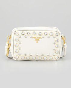 Prada Saffiano Studded Mini Zip Crossbody Bag, White on shopstyle.com