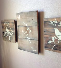 DIY Reclaimed wood art : a light sanding, painted, then covered with satin clear coat.    . . . .   ღTrish W ~ http://www.pinterest.com/trishw/  . . . .  #reuse #repurpose #recycle