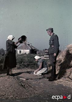 Sur le front de l'Est, deux paysannes au travail sous le regard d'un officier allemand (Sonderfuehrer), chargé de l'inspection des récoltes. Date : 1942-1943 Lieu : Ukraine, URSS