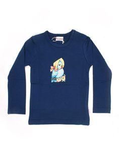 Dark blue longsleeve shirt with little retro bird - Baba Babywear