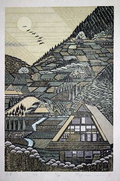 Geometric Japanese Art - My Modern Met Artist: Ray Morimura Art And Illustration, Illustrations, Landscape Illustration, Botanical Illustration, Art Asiatique, Art Japonais, Arte Popular, Japanese Painting, Chinese Painting