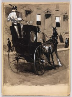 Study of a Horse-Drawn Carriage and Townhouses,  Edward Hopper, circa 1900