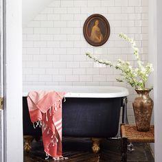Full tile wall in the bathroom + cast iron clawfoot tub + brass legs on the bathtub + vintage portrait + stool by the tub + vintage bathroom Beautiful Bathrooms, Modern Bathroom, Small Bathroom, Master Bathroom, Contemporary Bathrooms, Houzz Bathroom, Bathroom Beach, Modern Toilet, Minimal Bathroom
