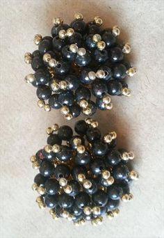 Vintage 80's Black Clip On Earrings