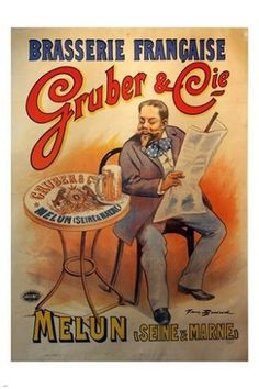 GRUBER & CIE french beer advertising poster OLD SCHOOL prized new 24X36 RARE