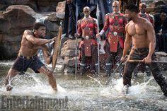 "T'Challa (Chadwick Boseman) and Erik Killmonger (Michael B. Jordan) in ""Black Panther"""