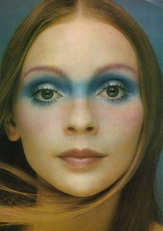 Vintage Makeup Mary Quant's Face in the Clouds, from Vanity Fair magazine, April 1971 - 'Please. 1970s Makeup, Retro Makeup, Vintage Makeup, Vintage Beauty, Makeup Inspo, Makeup Art, Beauty Makeup, Eye Makeup, Hair Makeup