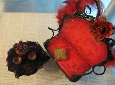Red Drama Settee with Accessories by maryfontones on Etsy, $40.00