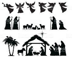 Natividade silhueta vetor e ilustração royalty-free royalty-free