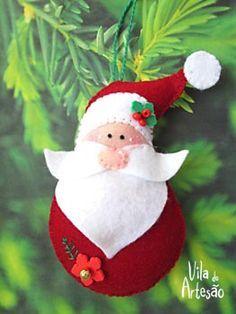Como fazer um enfeite Papai Noel em feltro para sua árvore de natal