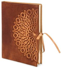 """Vetro Stamped Brown Italian Leather Journal with Tie-(6""""x8"""")"""