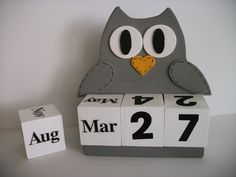 Owl Perpetual Calendar Wood Block Grey This calendar can be used year after year and makes a perfect gift. This 5 piece calendar set comes with a Block Calendar, Diy Calendar, Flamingo Decor, Pink Flamingos, Geography For Kids, Wood Owls, Owl Eyes, Gray Owl, Perpetual Calendar