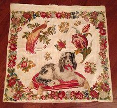 Antique 19th Century Sampler Signed Dog Bird Of Paradise Florals Needlework