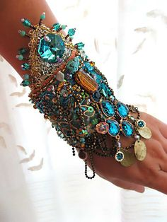 Mystery Bracelet Gypsy Jangle Blue Gold Aqua by AllThingsPretty, $325.00