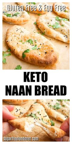 Pillowy-soft, fluffy Keto naan flatbreads to go with your favourite Indian curry! This easy low carb flatbread recipe is gluten free and egg free. #ketobread #glutenfreenaan #lowcarbflatbread #ketonaan