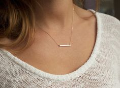 Great gift for minimalists. Simple Charm Necklace / Thin Bar Necklace / Horizontal Gold Bar Necklace – a unique product by MinimalVS via en.DaWanda.com #minimalistic #jewellery