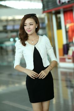 Graceful Lady's Two-Piece Puff Sleeve Blazer with Pinafore Dress with Two Colors