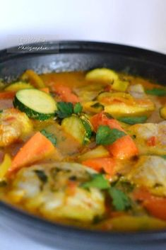 Tagine fish with vegetables - The delicacies of Lea - Cécile Robert Fish Recipes, Seafood Recipes, Cooking Recipes, Healthy Recipes, Fish Tagine, Food Porn, Exotic Food, Recipes From Heaven, Fish Dishes