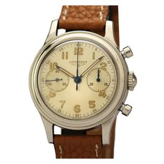 Longines Stainless Steel Chronograph Wristwatch circa 1952   From a unique collection of vintage wrist watches at http://www.1stdibs.com/jewelry/watches/wrist-watches/ #luxurywatch #Longines-swiss Longines Swiss Watchmakers watches #horlogerie @calibrelondon