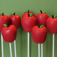 12 Red Apple Cake Pops for a Fall Wedding, Teacher Gift, Twilight, Snow White, Disney Princess, Thanksgiving, Farm, Harvest party favor