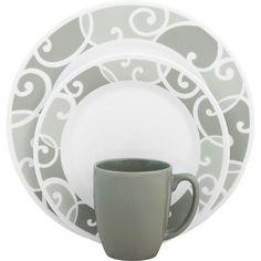 Corelle Vive 16-Piece Dinnerware Set, Glass Ribbons and Swirls - Walmart.com.....I LOVE this set!