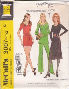 Vintage Sewing Pattern Dress, Blouse, Pants 7 Shorts McCall's 3007 Bust- Free Pattern Grading E-book Included Mens Sewing Patterns, Mccalls Patterns, Simplicity Sewing Patterns, Vintage Patterns, Clothing Patterns, Modern Sewing Machines, 1970s Dresses, Miss Dress, Diy Clothing