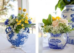 ...I never tire of flowers in a blue and white vase or pitcher!!