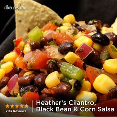 "Heather's Cilantro, Black bean, and Corn Salsa | ""This black bean and corn salsa recipe was really good and it makes a lot! The only change I made was throwing in a second avocado into the salsa because I love avocado! So delicious!"""