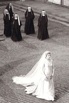 Maria on her way to the chapel to marry Capt. Von Trapp - The Sound of Music