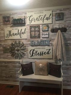 35 Inspiring Farmhouse Wall Decor Design Ideas For Your Home – - All About Decoration Wall Decor Design, Diy Wall Decor, Hall Wall Decor, Wall Decorations, House Wall Design, Dining Wall Decor, Windmill Wall Decor, Family Wall Decor, Entryway Wall