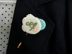 Personalized Embroidered Initial Felt Pin Brooch by GlucoseArtroom, $22.00
