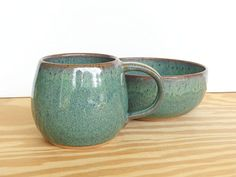 Ceramic Pottery Breakfast Set - One Cup and One Bowl in Sea Mist Glaze, Rustic Stoneware