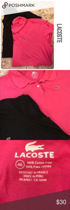 0e50c8a93c5480 Bundle Two Lacoste Polo Shirts Bundle Two Lacoste Polo Shirts Size 46 Colors  Pink and Black