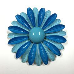 Where are my GoGo Boots?  Vintage Mod 60's Retro HUGE Enamel Flower Brooch Pin Lot Blue Aqua Sunflower #Wedding Bouquet #Repurpose