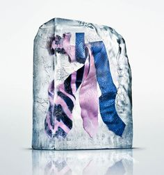 Freezing clothes in a special way to be photographed.  Interesting idea!