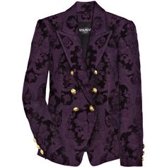 Balmain Double-breasted brocade jacket (£2,938) ❤ liked on Polyvore featuring outerwear, jackets, blazers, coats, women, purple blazer jacket, balmain, double breasted blazer, balmain blazer and brocade blazer