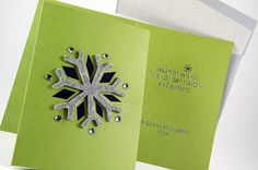 Snowflake Holiday Card by RedBliss Design #redblissdesign #custom #social #holiday #felt #snowflake #lasercut #foilstamping