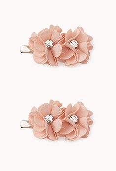 Floral Rhinestoned Peach Hair Clips from Forever 21