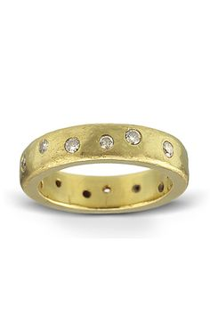 Diamond Studded Wedding Band: Made from hammered gold, it weighs approximately 10 grams. It's 2mm thick and 5 mm wide. Hammered texture will acquire a lovely patina with wear. Available in whole, half, and quarter sizes from 5 – 12.