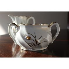 Lefton sugar bowl and creamer Gold Wheat pattern,white ($18) ❤ liked on Polyvore featuring home, kitchen & dining, serveware, white serveware, white sugar bowl and white creamer