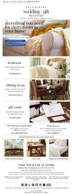 pottery barn wedding registry email 2014
