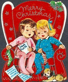 Letter to Santa. Merry Christmas. Christmas Chair. Napping Children. Retro Christmas Card. Vintage Christmas Card.