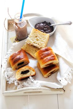 Jam or chocolate filled sourdough rolls